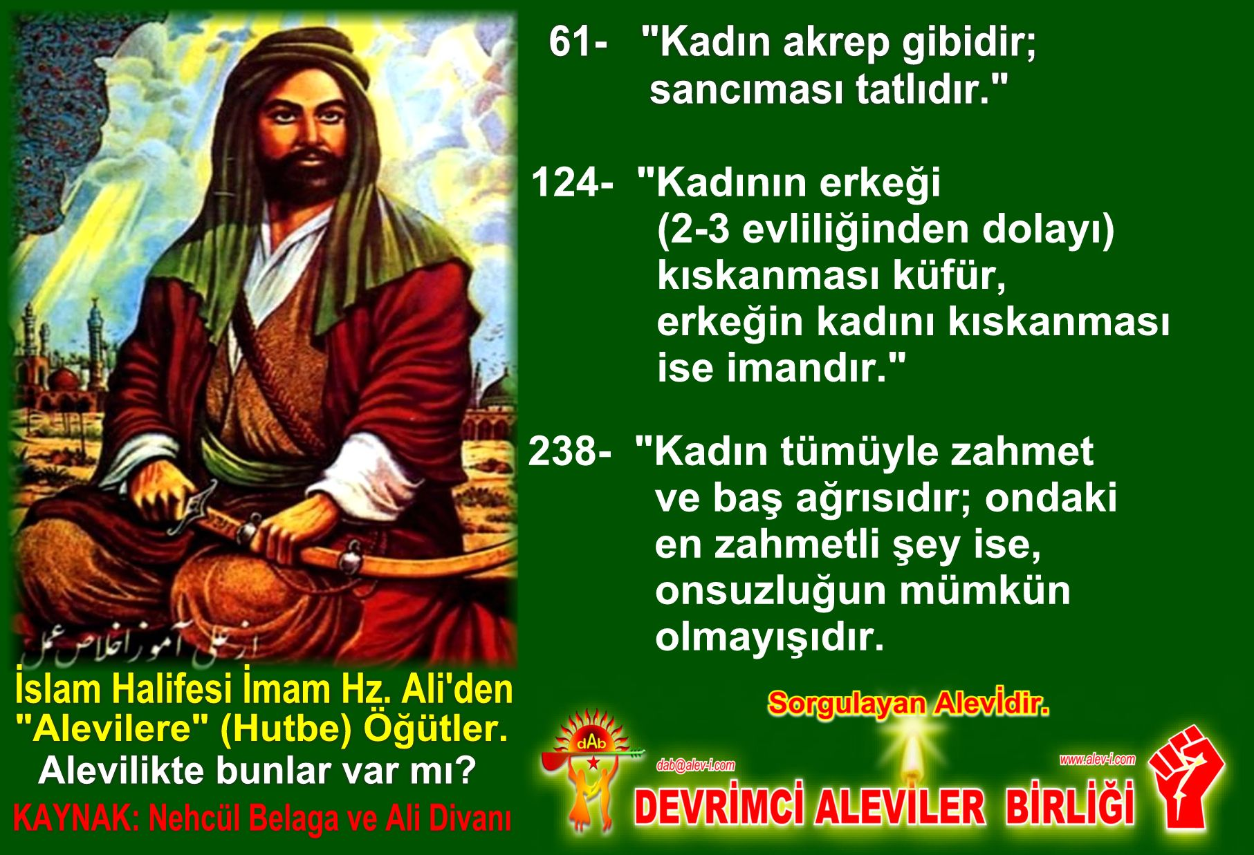 Devrimci Aleviler Birliği DAB Alevi Kızılbaş Bektaşi pir sultan cem hz Ali 12 imam semah Feramuz Şah Acar halife imam hz ali den inciler3