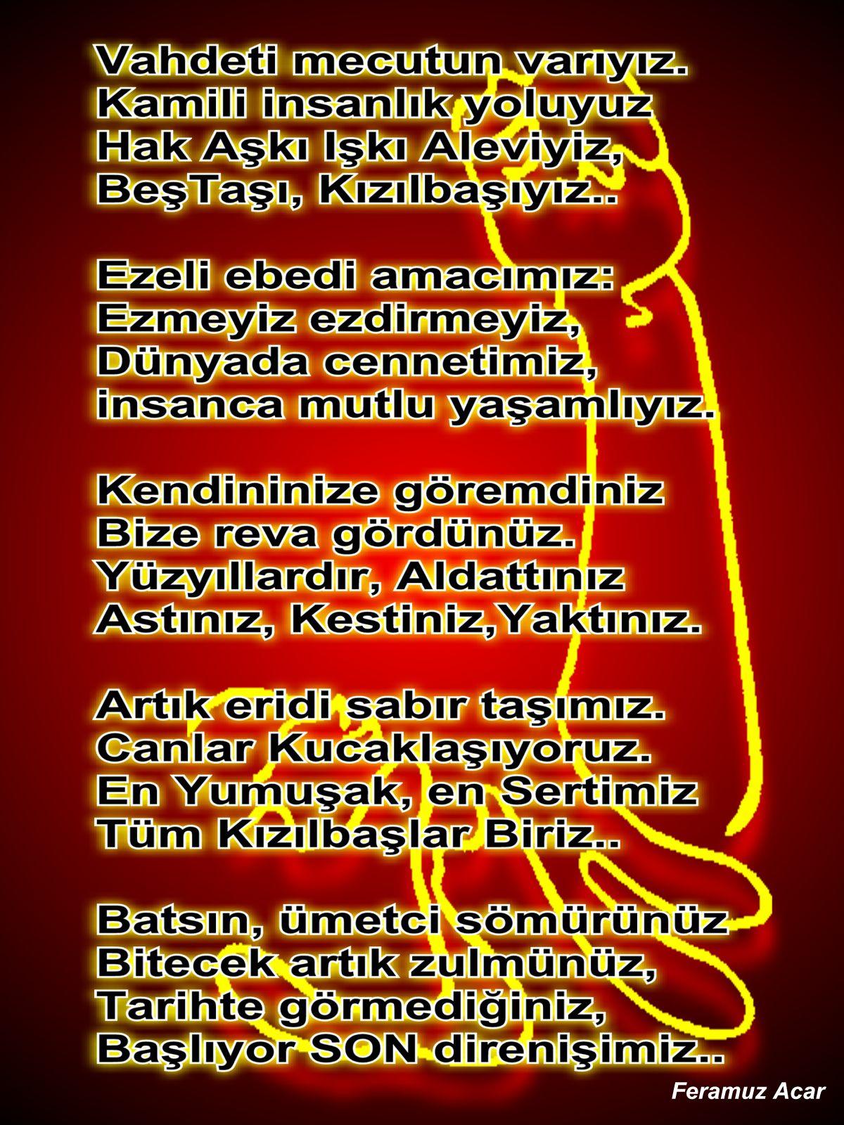 Devrimci Aleviler Birliği DAB Alevi Kızılbaş Bektaşi pir sultan cem hz Ali 12 imam semah Feramuz Şah Acar sondirenis