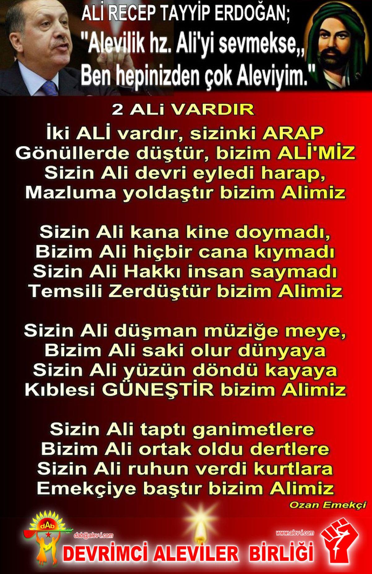 Alevi Bektaşi Kızılbaş Pir Sultan İslam dışı Atatürk faşist ehlibeyt 12 imam Devrimci Aleviler Birliği DAB tattip RTE ali