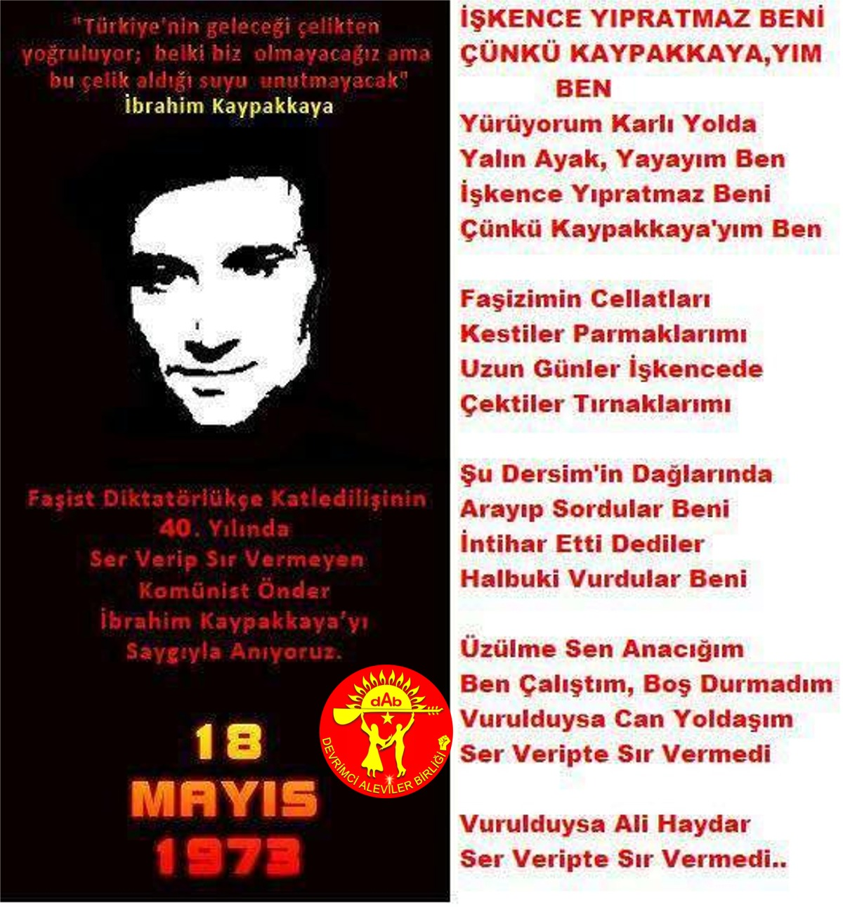 Alevi Bektaşi Kızılbaş Pir Sultan Devrimci Aleviler Birliği DAB ibo kaypakkaya iskence