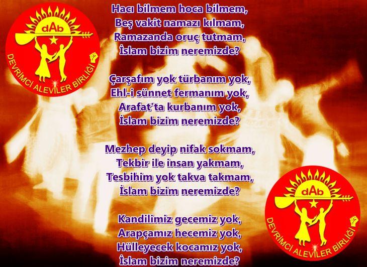 Alevi Bektaşi Kızılbaş Pir Sultan Devrimci Aleviler Birliği DAB islam bizim neremizde