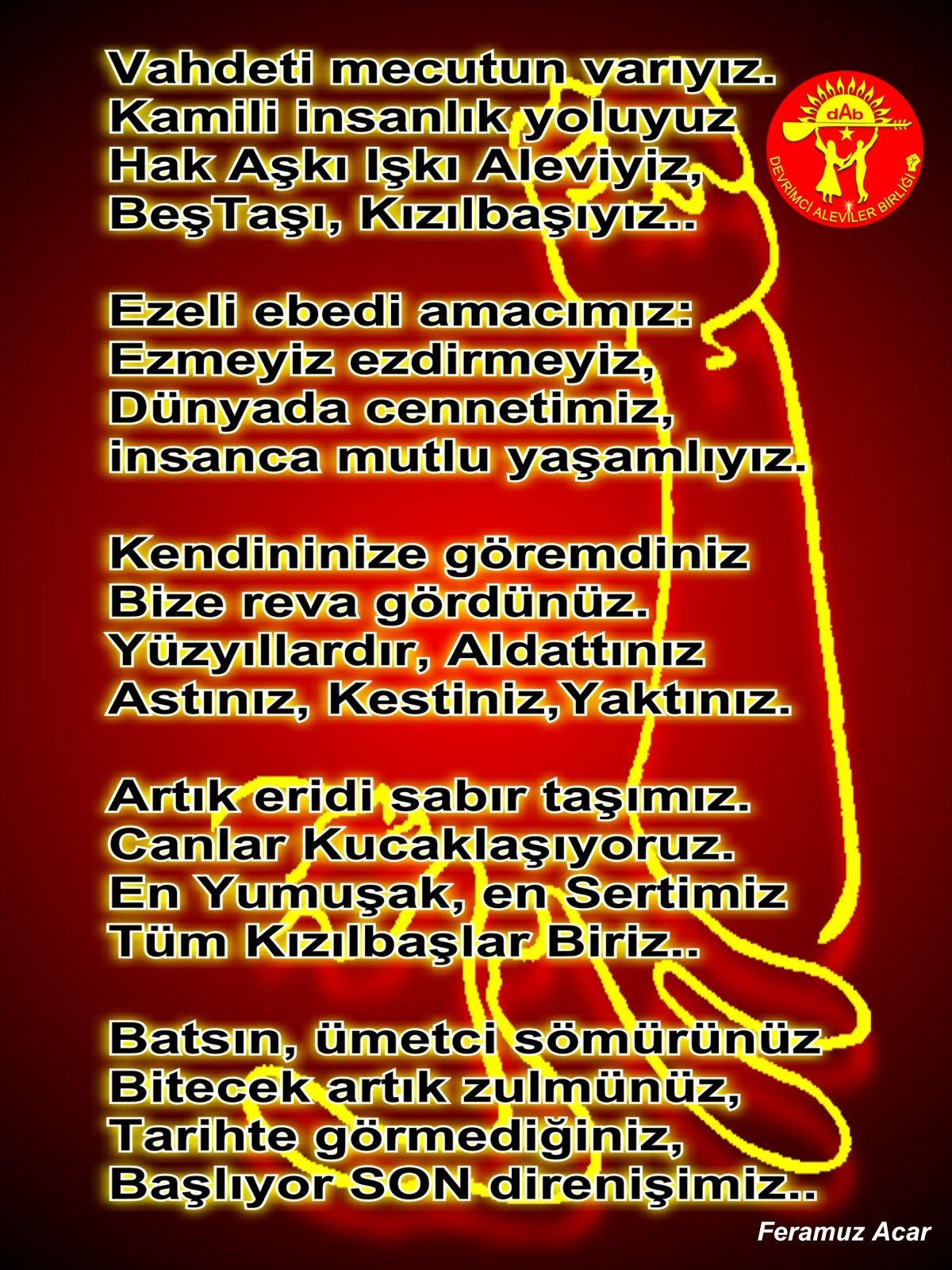 Alevi Bektaşi Kızılbaş Pir Sultan Devrimci Aleviler Birliği DAB sondirenis
