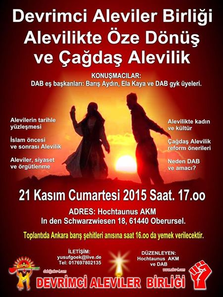 Devrimci Aleviler Birliği DAB Alevi Kızılbaş Bektaşi pir sultan cem hz Ali 12 imam semah Feramuz Şah Acar photo_597098907105169
