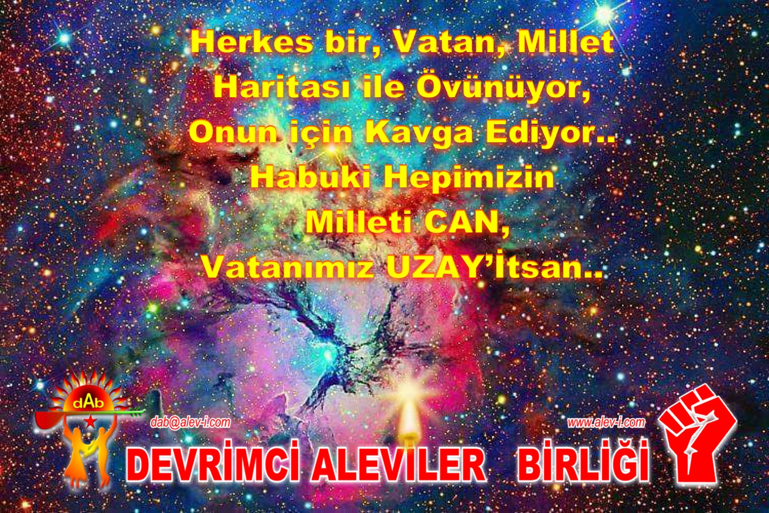 Devrimci Aleviler Birliği DAB Alevi Kızılbaş Bektaşi pir sultan cem hz Ali 12 imam semah Feramuz Şah Acar vatan millet uzayistan